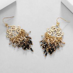 BOGO Beaded Scroll Black Gold Tassel Earrings